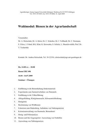 Wahlmodul Bienen in der Agrarlandschaft - Georg-August ...