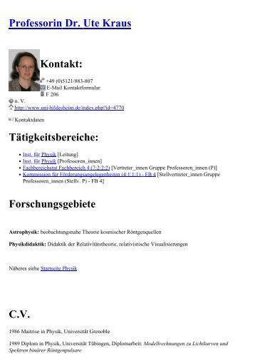 Professor Dr Rer Nat Werner Greve Kontakt Universit T