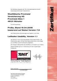 Westfälische Provinzial Versicherung AG Provinzial-Allee 1 ... - TÜViT