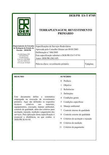DER/PR ES-T 07/05 TERRAPLENAGEM: REVESTIMENTO PRIMÁRIO
