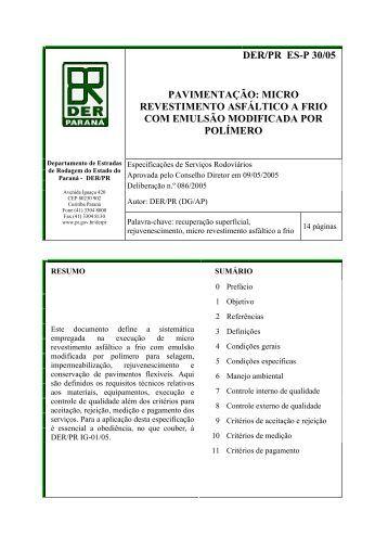 DER/PR ES-P 30/05 PAVIMENTAÇÃO: MICRO REVESTIMENTO ...