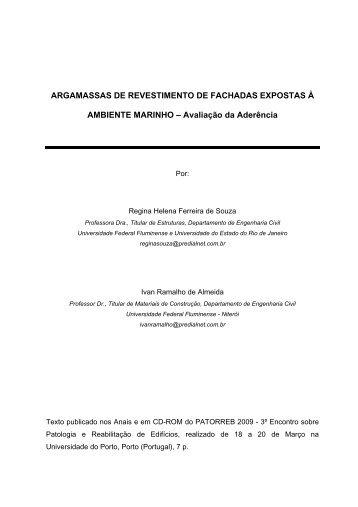 ARGAMASSAS DE REVESTIMENTO DE FACHADAS ... - UFF