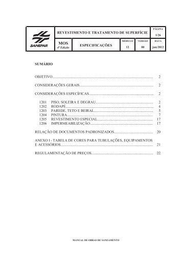 revestimento e tratamento de superfície especificações - Sanepar
