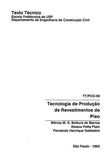 Texto Técnico Tecnologia de Produção de Revestimentos de Piso