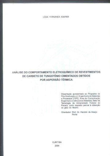 Analise do comportamento eletroquímico de revestimentos de ...
