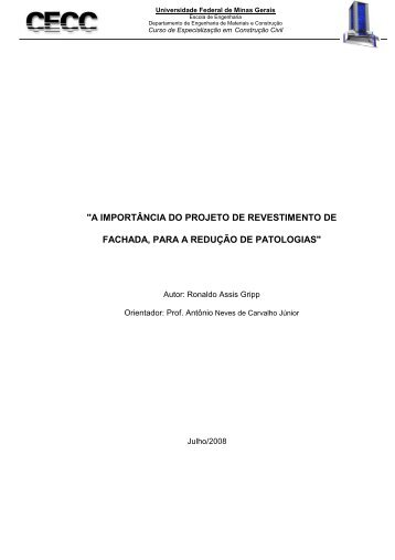 a importância do projeto de revestimento de fachada - CECC - UFMG