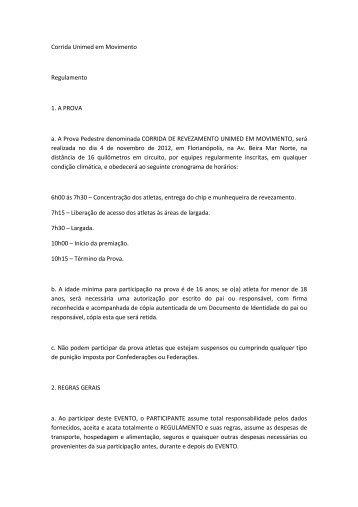 Regulamento Corrida Unimed em Movimento final - Webrun