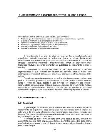 8 - revestimento das paredes, tetos, muros e pisos - Demilito.com.br