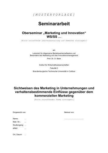 Seminararbeit - Brandenburgische Technische Universität Cottbus