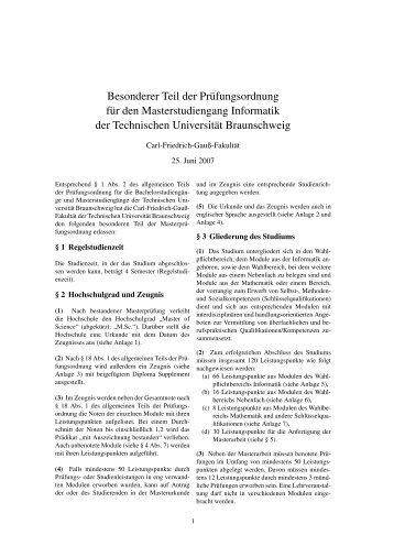 Besonderer Teil der Prüfungsordnung für Master Informatik
