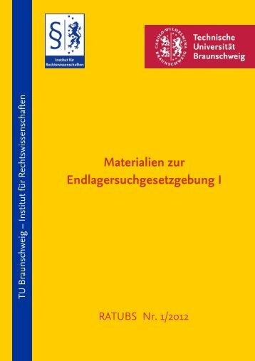 Materialien zur Endlagersuchgesetzgebung I - Technische ...