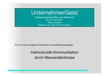 Interkulturelle Kommunikation - Technische Universität Braunschweig
