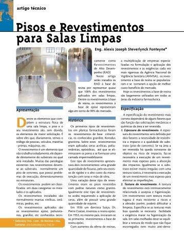 Pisos e Revestimentos para Salas Limpas - SBCC