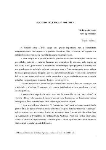 SOCIEDADE, ÉTICA E POLÍTICA - Início