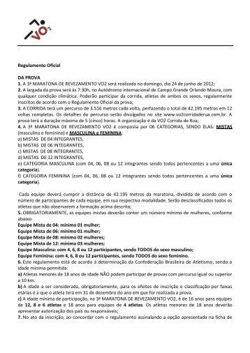 vo2 Corrida de Rua - Campo Grande/MS