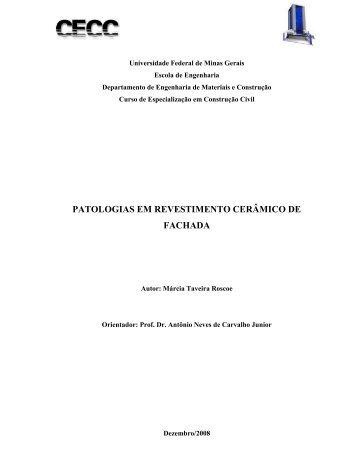 patologias em revestimento cerâmico de fachada - CECC - UFMG