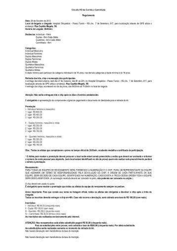 Circuito HO de Corrida e Caminhada Regulamento Data: 28 ... - Corpa