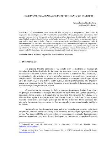 fissuração nas argamassas de revestimento em fachadas - UCSAL