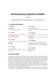 Seminarplanung Allgemeine Didaktik - Universität Kaiserslautern