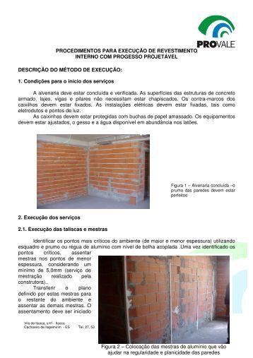 PROCEDIMENTOS PARA EXECUÇÃO DE REVESTIMENTO ...