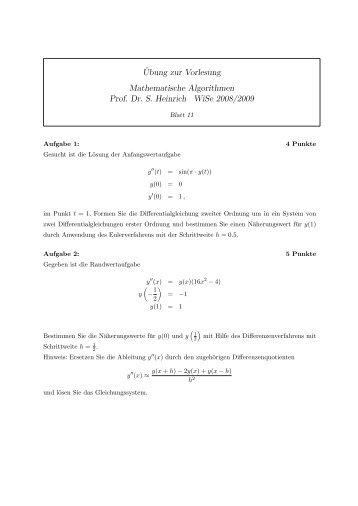 ¨Ubung zur Vorlesung Mathematische Algorithmen Prof. Dr. S ...