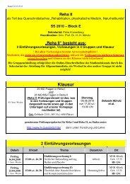 2010-01 - Unterrichtsplan - Reha II - SS 2010