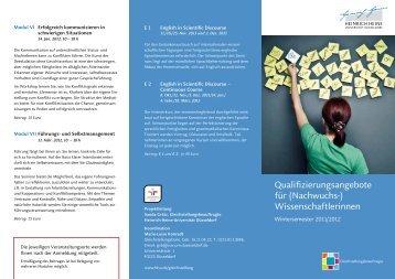 Qualifizierungsangebote für (Nachwuchs-) Wissenschaftlerinnen