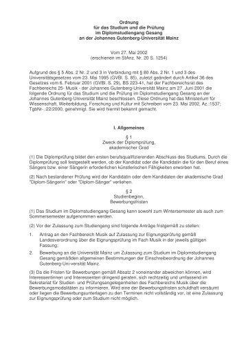 Ordnung für das Studium und die Prüfung im - Johannes Gutenberg ...