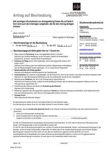 Antrag auf Beurlaubung - Johannes Gutenberg-Universität Mainz