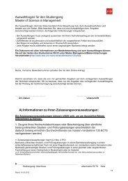 Auswahlbogen für den Studiengang Master of Science in ...