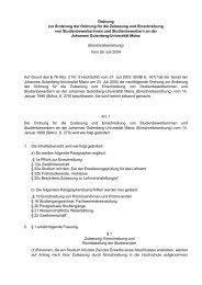 Ordnung zur Änderung der Ordnung für die Zulassung - Johannes ...
