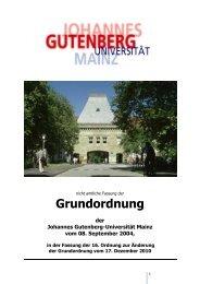 Grundordnung - Johannes Gutenberg-Universität Mainz