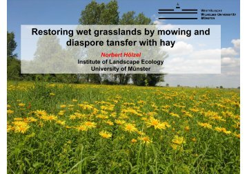Restoring wet grasslands by mowing and diaspore tansfer with hay