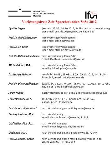 Vorlesungsfreie Zeit Sprechstunden SoSe 2012