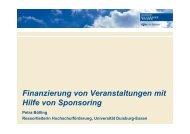 Finanzierung von Veranstaltungen mit g  g Hilfe von Sponsoring