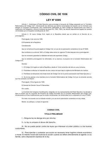 código civil de 1936 ley nº 8305 - Colegio de Notarios de La Libertad