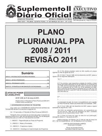 plano plurianual ppa 2008 / 2011 revisão 2011 - seplan - Governo ...