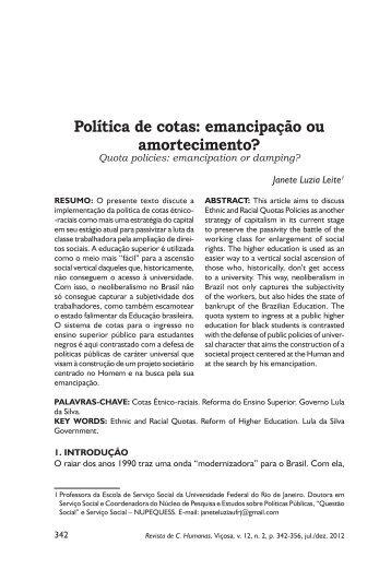 Política de cotas: emancipação ou amortecimento? - CCH
