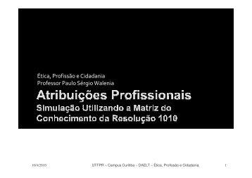 Aula 6 - Atribuições Profissionais pela Resolução 1010 - UTFPR