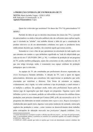 A PRODUÇÃO COTIDIANA DE UM PROGRAMA DE TV ... - TWiki