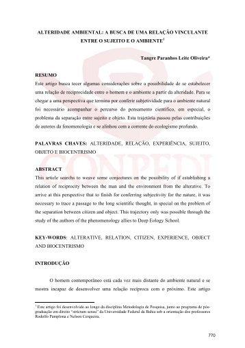 ALTERIDADE AMBIENTAL: A BUSCA DE UMA ... - CONPEDI