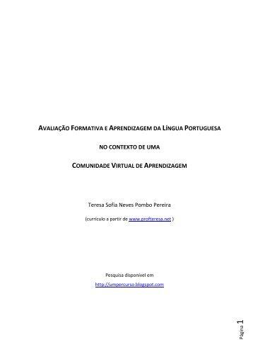 avaliação formativa e aprendizagem da língua portuguesa no ...