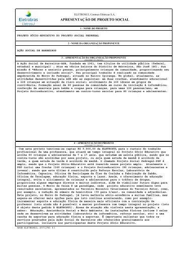APRESENTAÇÃO DE PROJETO SOCIAL - Servnotes.eletrosul.gov ...