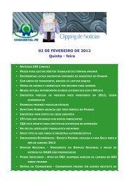 02 DE FEVEREIRO DE 2012 Quinta - feira - Sindimetal/PR