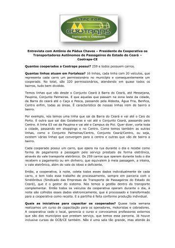 Entrevista com Antônio de Pádua Chaves – Presidente da ... - OCB/CE