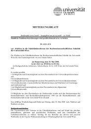 137. Wahlen in die Fakultätskonferenz der ... - Universität Wien