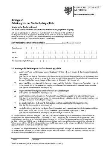 Antrag auf Befreiung von der Studiengebühr 11-2006 - Bergische ...