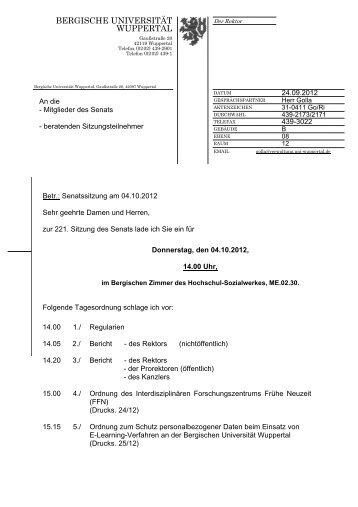 04.10.2012: 221. Sitzung - Bergische Universität Wuppertal