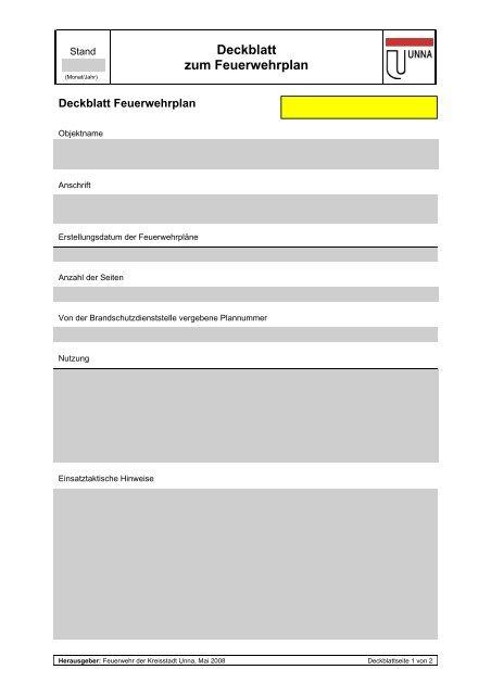 Deckblatt Zum Feuerwehrplan Ausfüllbare Pdf Kreisstadt Unna