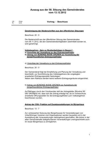 Auszug aus der 58. Sitzung des Gemeinderates vom 13.12.2012